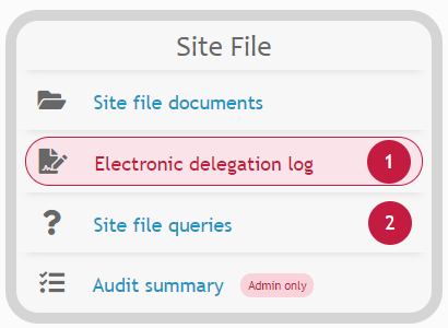 Link to the Electronic Delegation Log